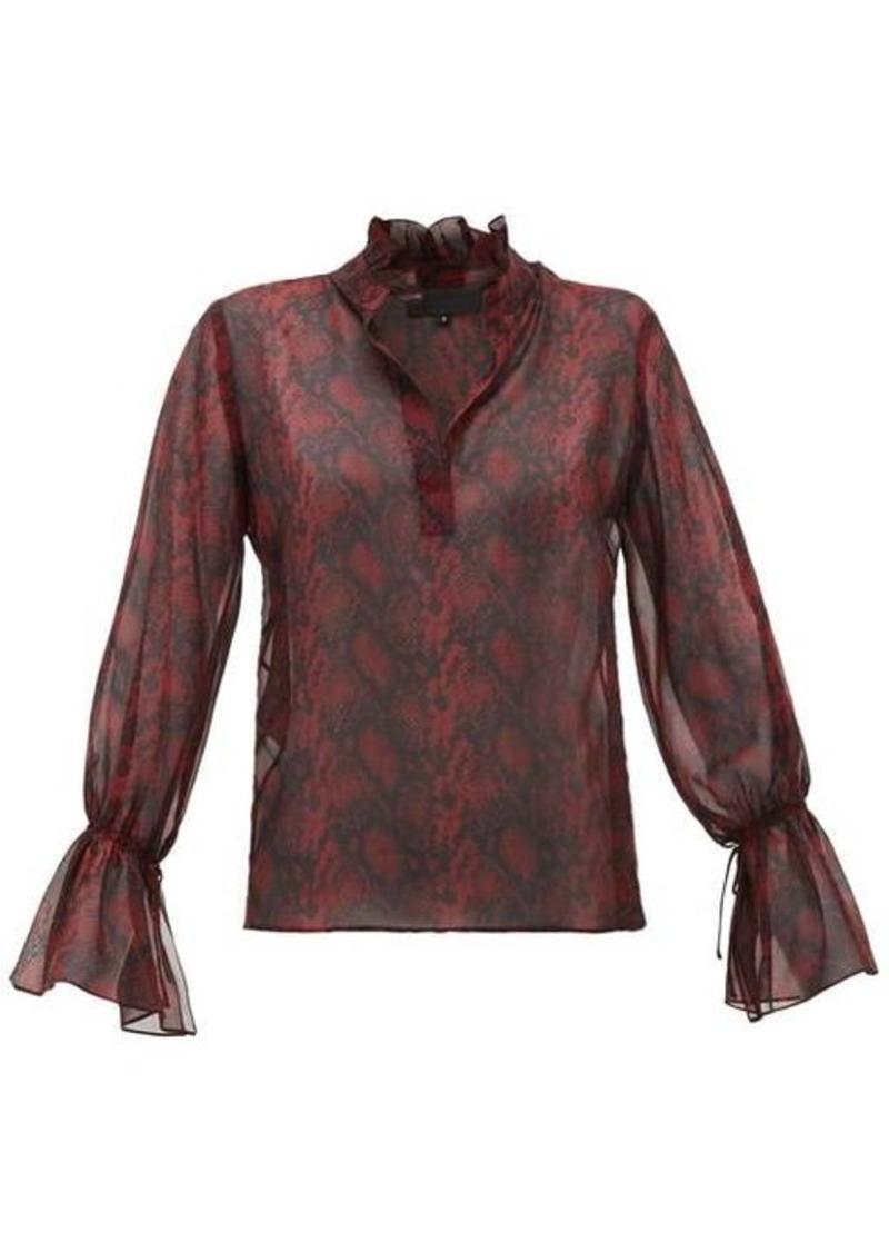 Nili Lotan Ruffled snake-print silk-chiffon blouse