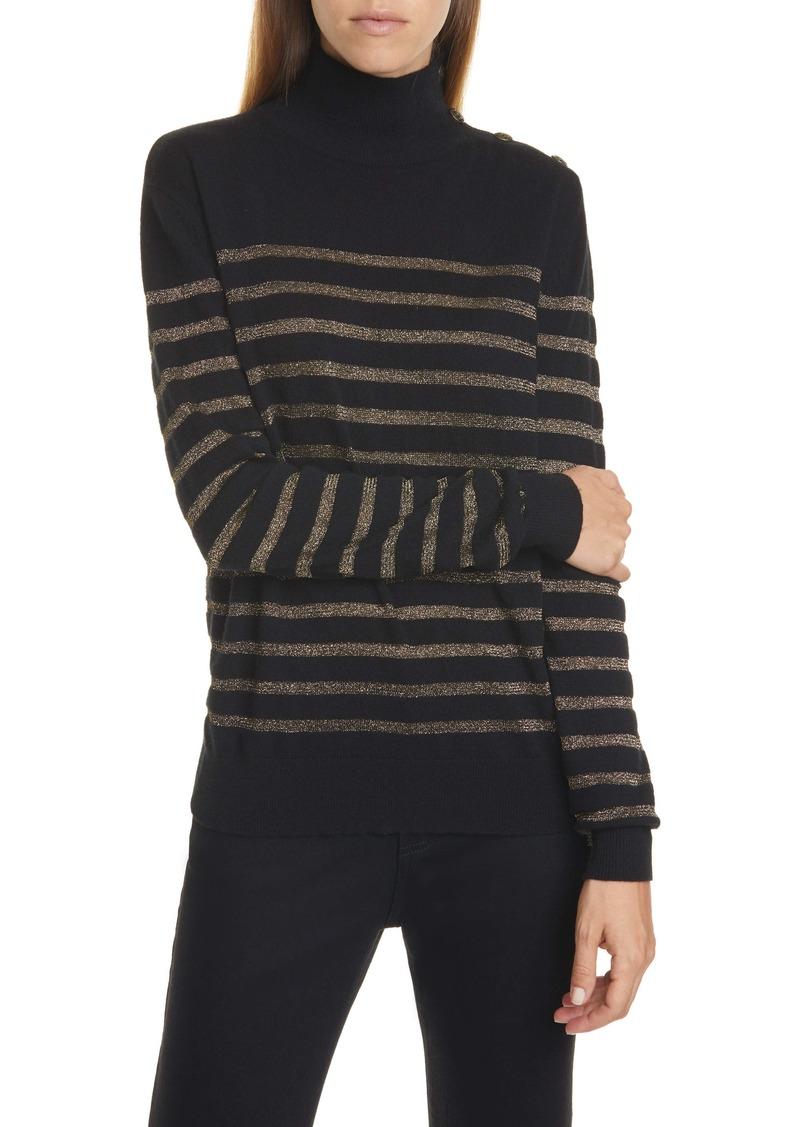 Nili Lotan Spruce Metallic Stripe Cashmere Blend Sweater