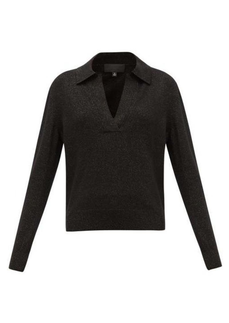 Nili Lotan Stanton V-neck metallic wool-blend sweater