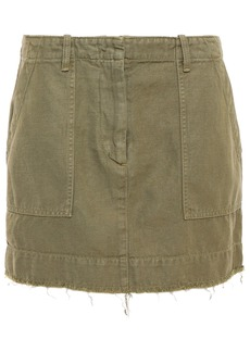 Nili Lotan Woman Ilona Grosgrain-trimmed Cotton And Linen-blend Twill Mini Skirt Sage Green