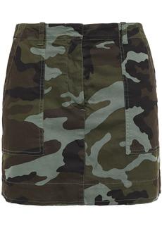 Nili Lotan Woman Ilona Grosgrain-trimmed Printed Stretch-cotton Twill Mini Skirt Army Green
