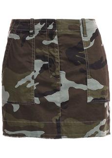 Nili Lotan Woman Ilona Printed Stretch-cotton Twill Mini Skirt Army Green