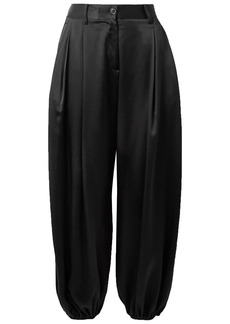 Nili Lotan Woman Lisbon Silk-charmeuse Tapered Pants Black