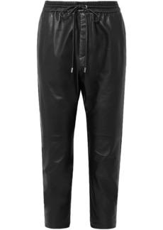Nili Lotan Woman Monaco Cropped Leather Harem Pants Black