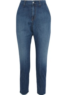 Nili Lotan Woman Paris Frayed Faded Low-rise  Tapered Jeans Mid Denim