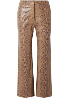 Nili Lotan Woman Vianna Snake-effect Leather Flared Pants Animal Print