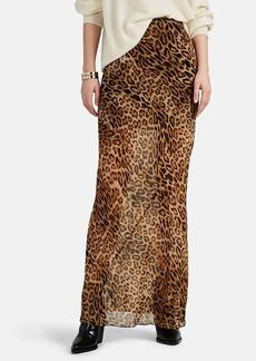 Nili Lotan Women's Ella Leopard-Print Silk Skirt