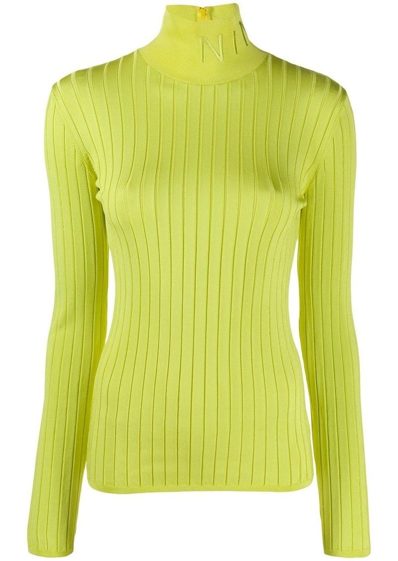 Nina Ricci logo embroidered turtleneck sweater