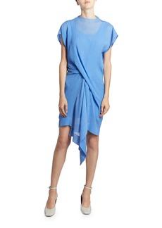 Nina Ricci Asymmetric Draped Front Mini Dress
