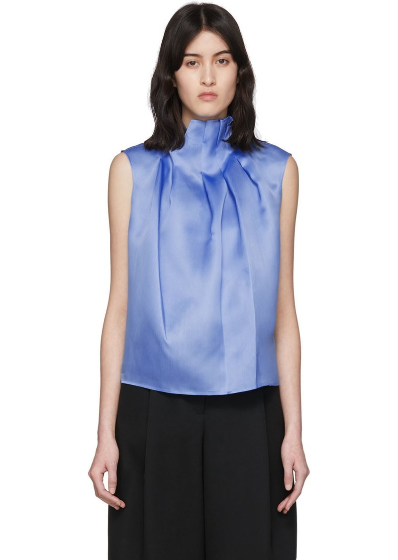 Nina Ricci Blue Silk Ruffle Neck Tank Top