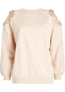 Nina Ricci Cold-Shoulder Cotton Sweatshirt with Sequins