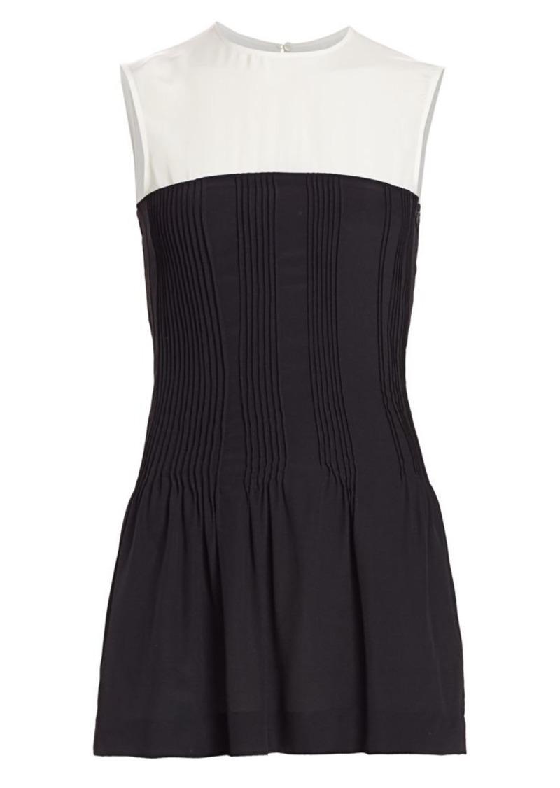 Nina Ricci Contrast-Yoke Pintuck Silk Top