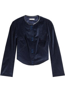 Nina Ricci Corduroy Jacket with Leather Trim