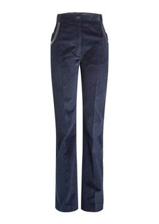 Nina Ricci Corduroy Pants with Leather Trim