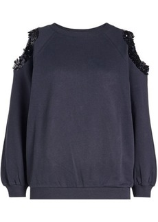 Nina Ricci Cotton Sweatshirt with Sequin Embellished Cold Shoulders