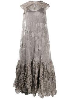 Nina Ricci creased floral maxi dress