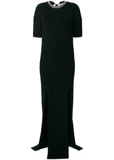 Nina Ricci crystal-embellished split-front gown