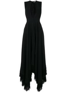 Nina Ricci cutout-detail asymmetric frayed-hem gown