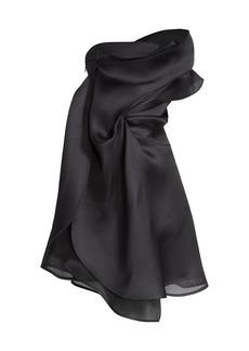 Nina Ricci Draped One-Shoulder Silk-Blend Cocktail Dress