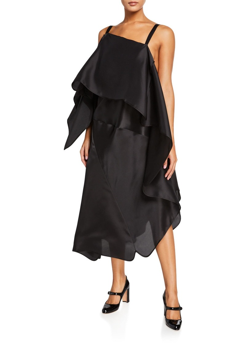 Nina Ricci Draped Organza Midi Dress