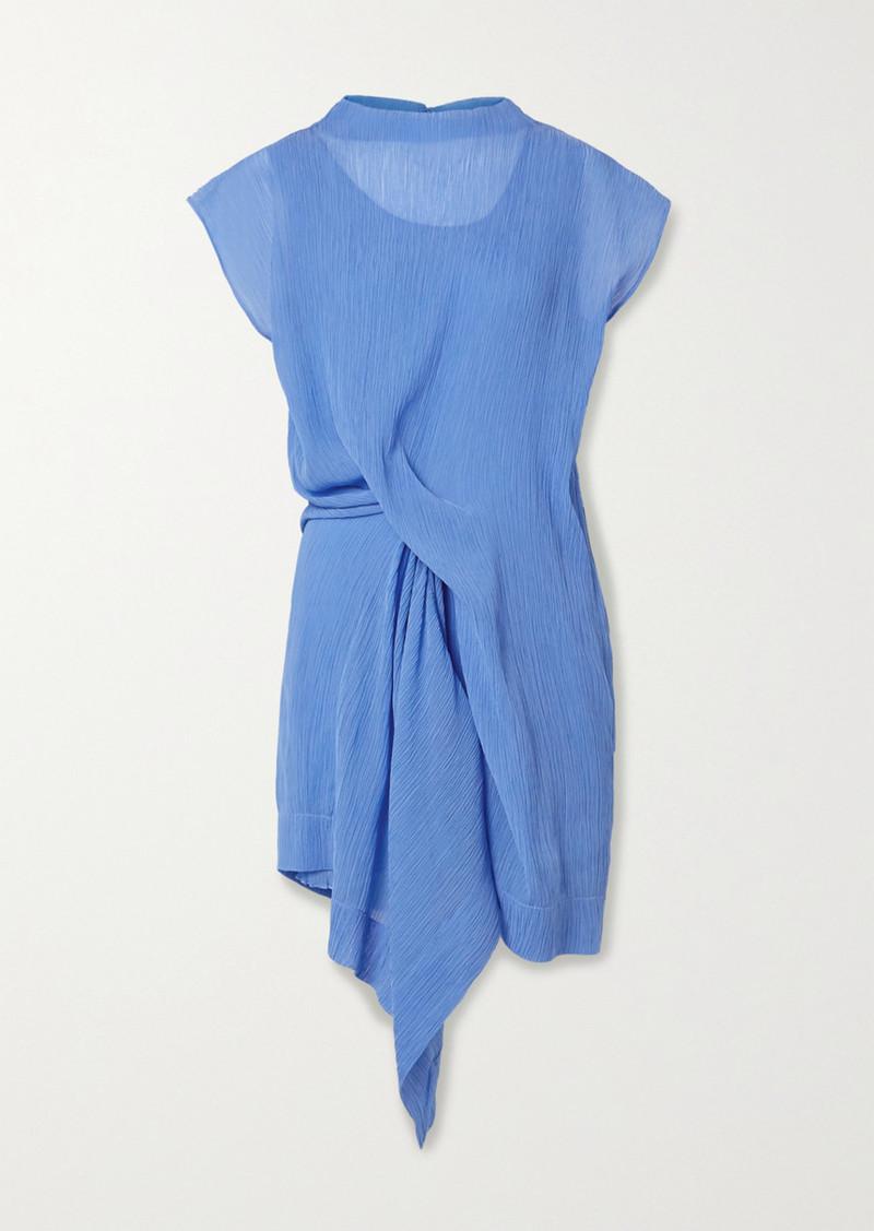 Nina Ricci Draped Plissé Cotton And Silk-blend Dress