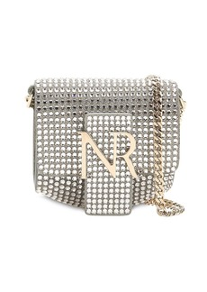 Nina Ricci Embellished Suede Logo Shoulder Bag