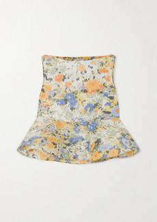 Nina Ricci Floral-print Taffeta Peplum Blouse
