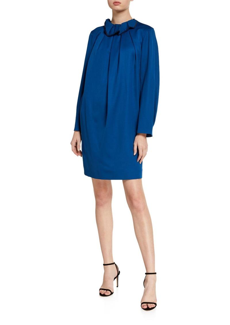 Nina Ricci Frilled Sateen Shift Dress