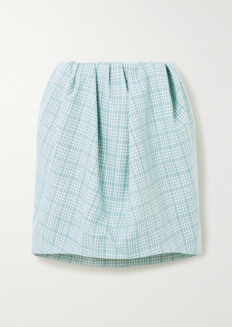 Nina Ricci Gathered Checked Wool-tweed Mini Skirt