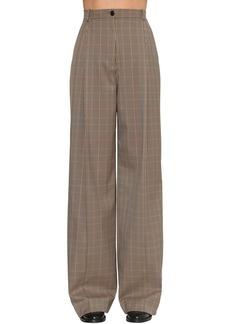 Nina Ricci High Waist Wide Tartan Leg Pants