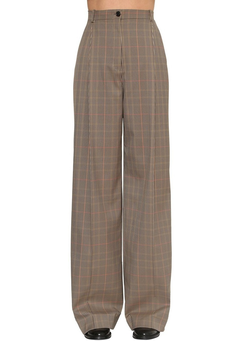 Nina Ricci High Waist Wide Tartan Leg Pants