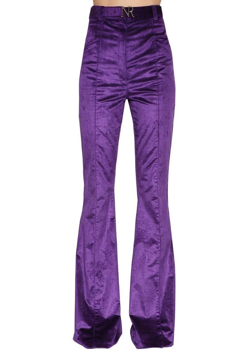 Nina Ricci High Waisted Flared Corduroy Pants