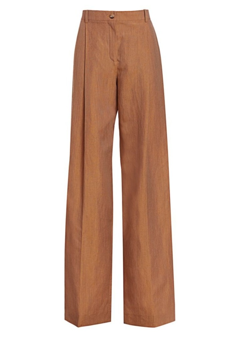 Nina Ricci Linen & Wool Wide-Leg Trousers