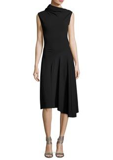 Nina Ricci Asymmetric High-Neck Midi Dress