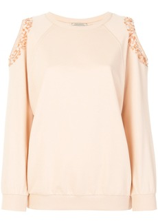Nina Ricci cold shoulder sequin detail sweater - Nude & Neutrals