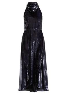 Nina Ricci Halterneck velvet-lamé dress