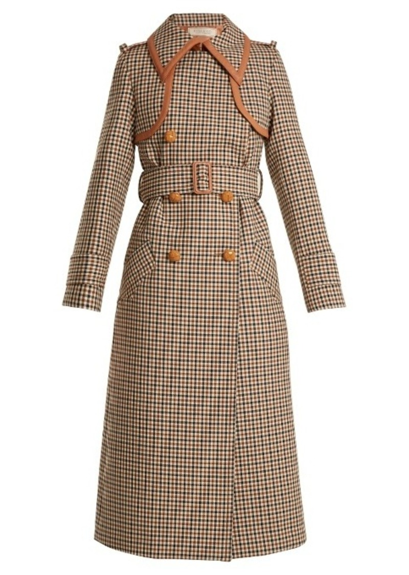 Nina Ricci Point-collar leather-trim checked wool trench coat
