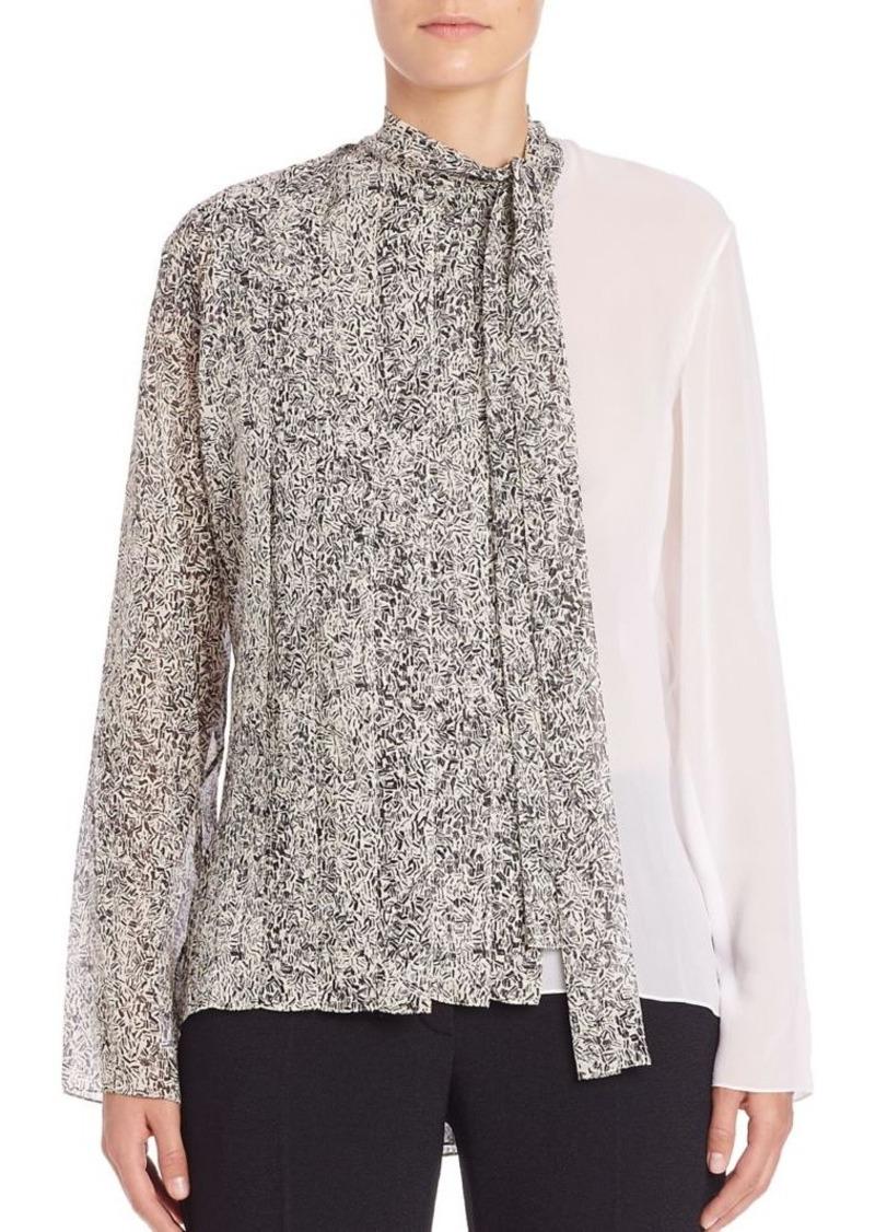 Nina Ricci Printed & Solid Silk Blouse