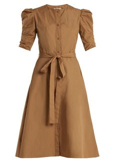 Nina Ricci Puff-sleeved cotton-poplin A-line dress