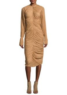 Nina Ricci Ruched Long-Sleeve Midi Dress