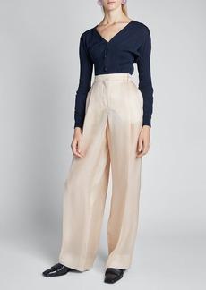 Nina Ricci Silk Gazar High-Rise Wide-Leg Pants