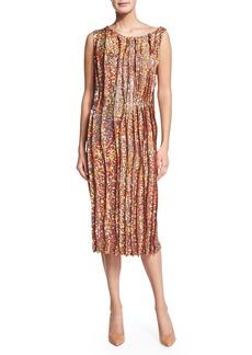 Nina Ricci Sleeveless Sequined Cocktail Sheath Dress