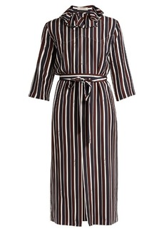 Nina Ricci Striped exaggerated-collar silk midi dress