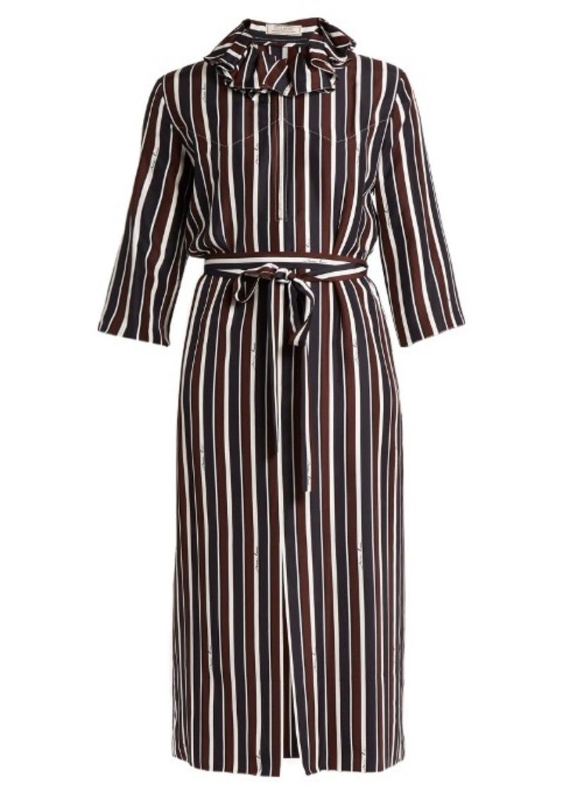 70ffaa7fbc Nina Ricci Nina Ricci Striped exaggerated-collar silk midi dress ...