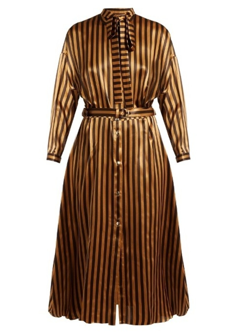 9544611d15 On Sale today! Nina Ricci Nina Ricci Tie-neck striped silk-satin dress