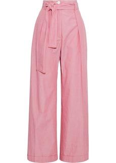 Nina Ricci Woman Belted Cotton-chambray Wide-leg Pants Red