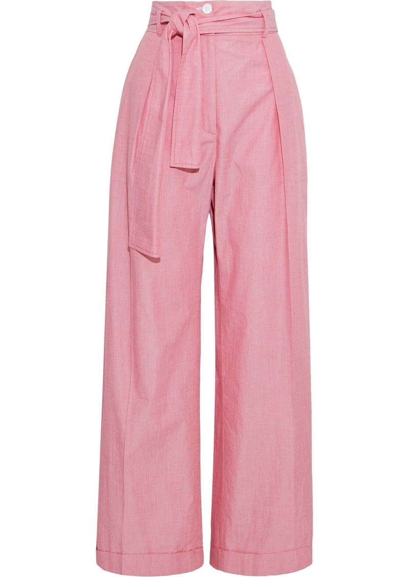 Nina Ricci Woman Belted Cotton-chambray Wide-leg Pants Red