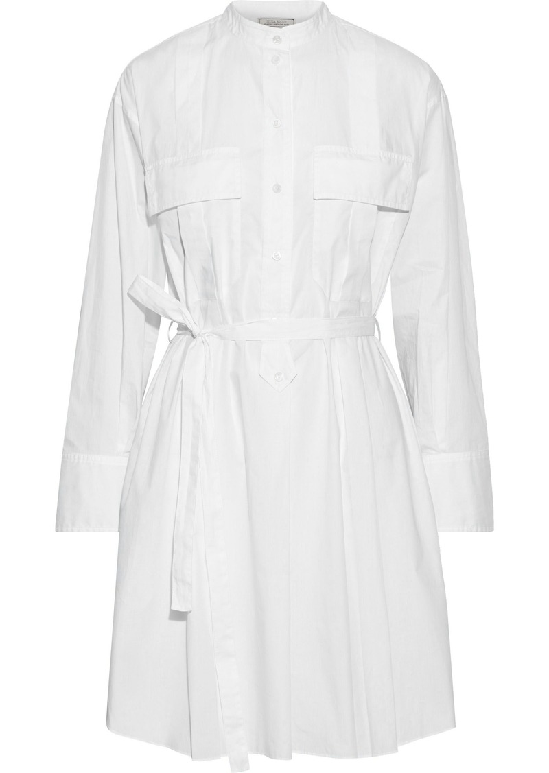 Nina Ricci Woman Belted Cotton-poplin Mini Shirt Dress White