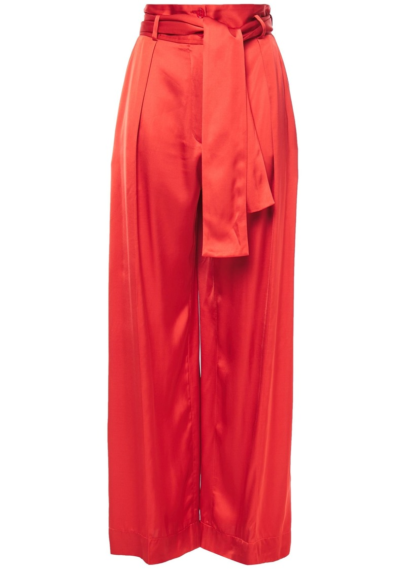 Nina Ricci Woman Belted Pleated Satin Wide-leg Pants Brick