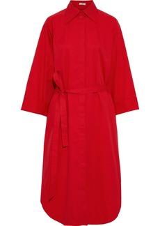Nina Ricci Woman Belted Shirred Cotton-poplin Midi Shirt Dress Red